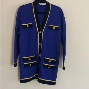 St. John collection medium m blue cardigan gold